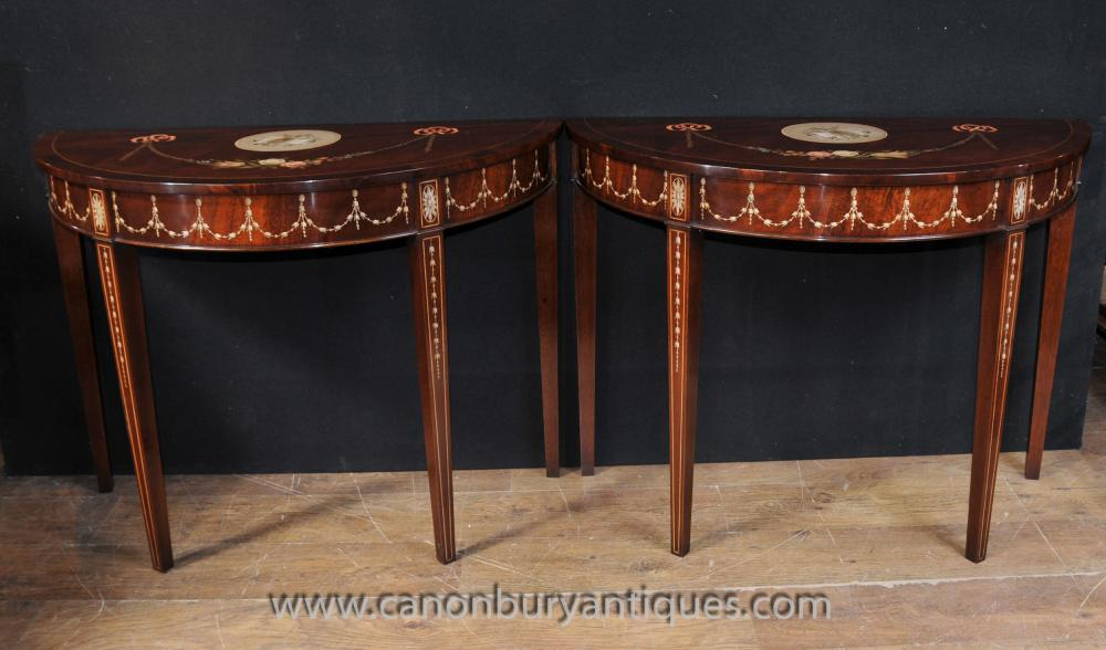 Painted Sheraton style console tables with musical instrument motifs