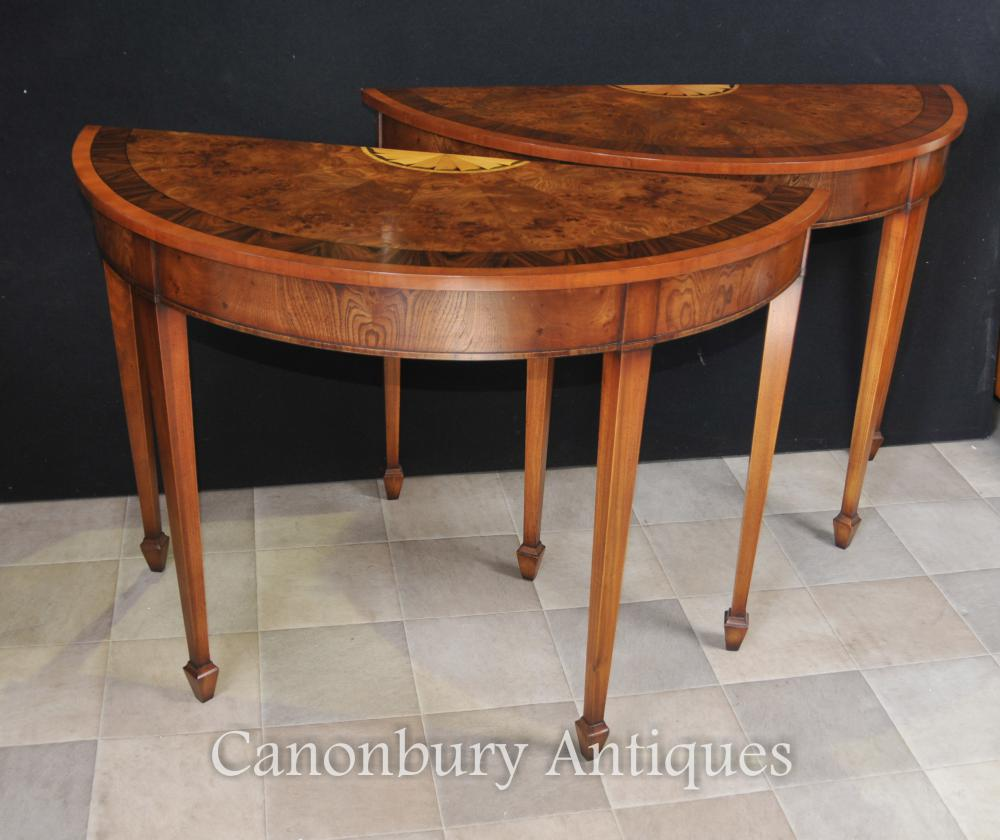 Pair Hepplewhite console tables in walnut