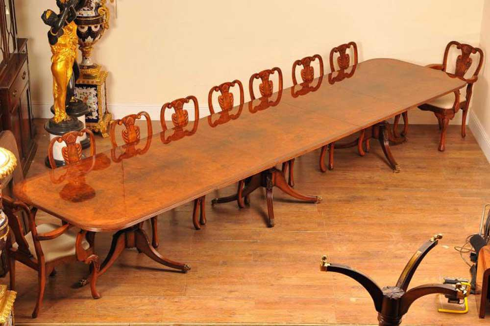 Large walnut Regency pedestal dining table