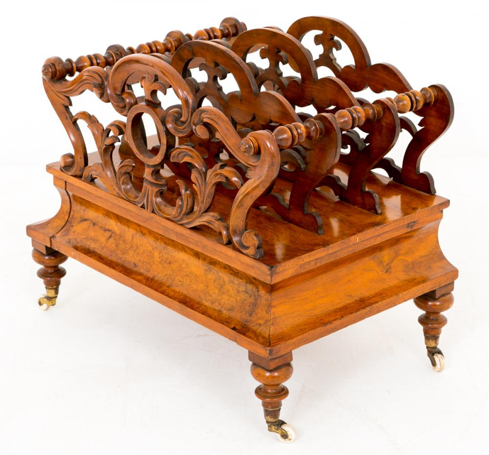 Antique Burr Walnut Canterbury Magazine Rack