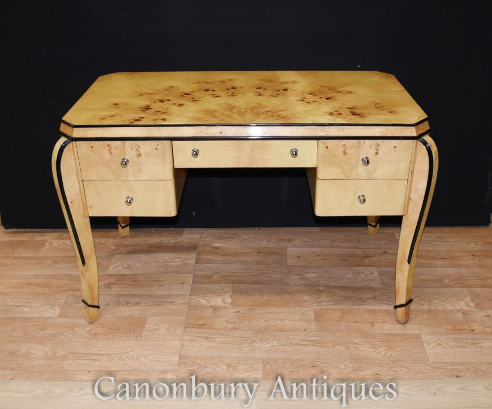 Art deco desk in blonde walnut with black trim