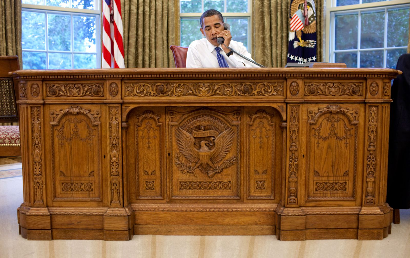 Obama at his Presidents Desk