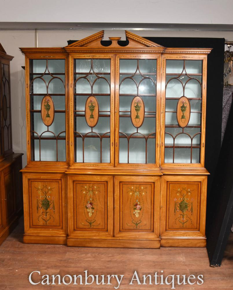 Breakfront Bookcase in Satinwood - Regency Sheraton Painted Bookcases