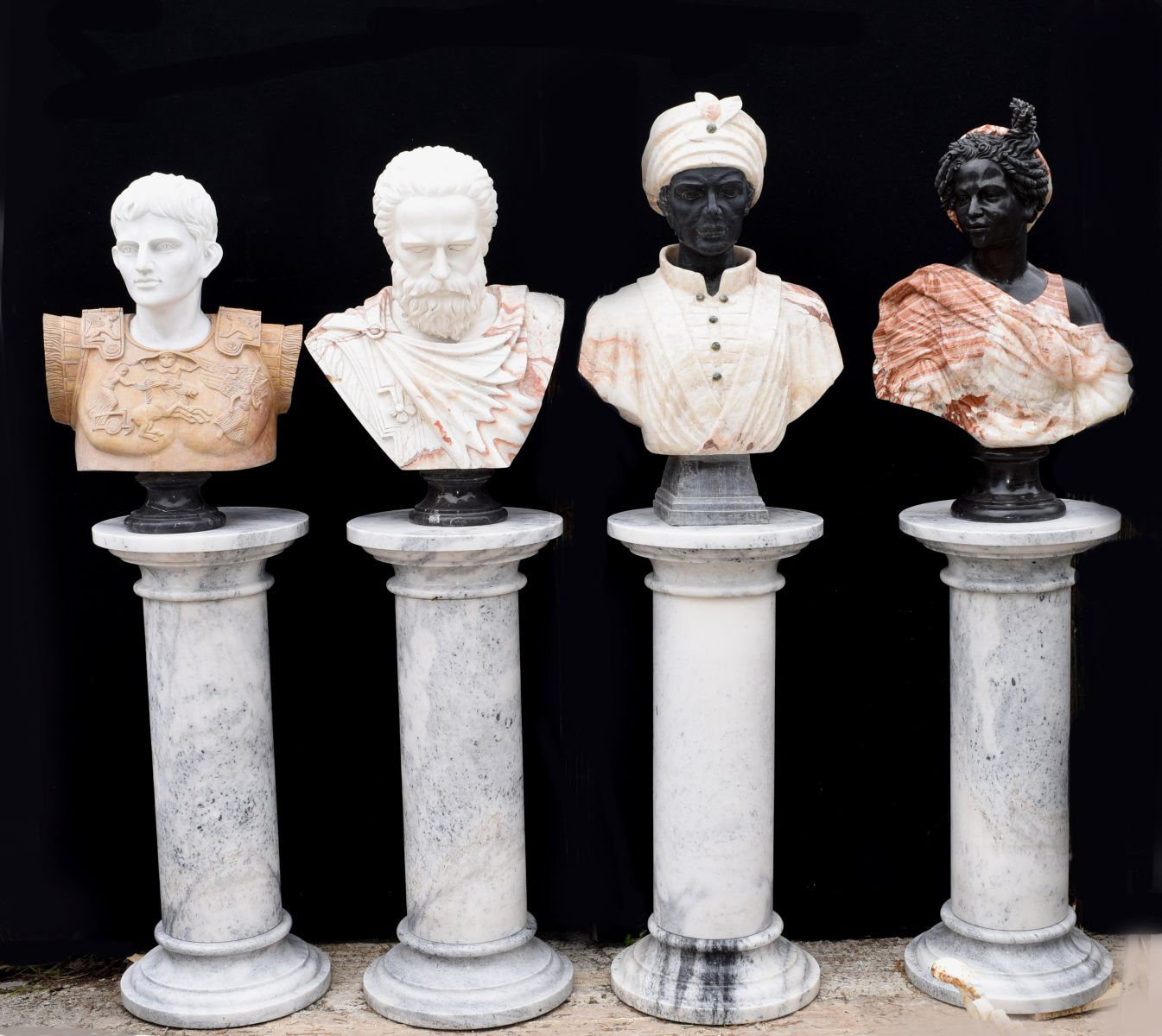 Marble busts for a classically inspired set