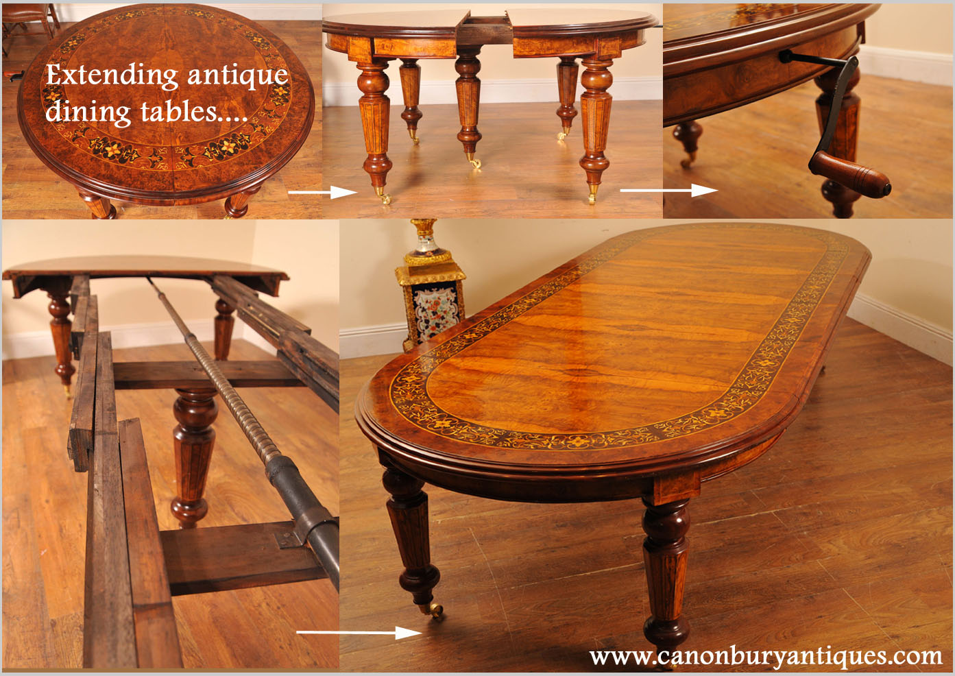 Extending Victorian dining table in walnut