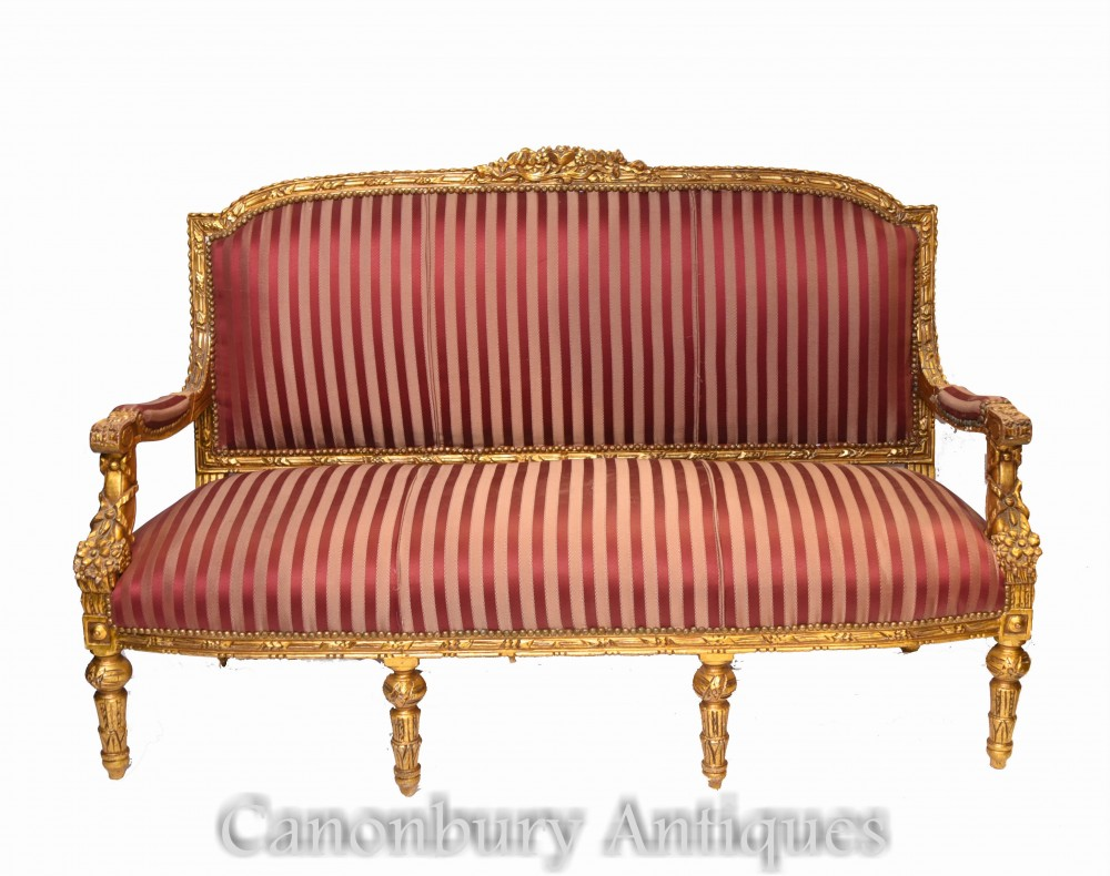 French Empire Settee - Gilt Antique Sofa Couch 1920