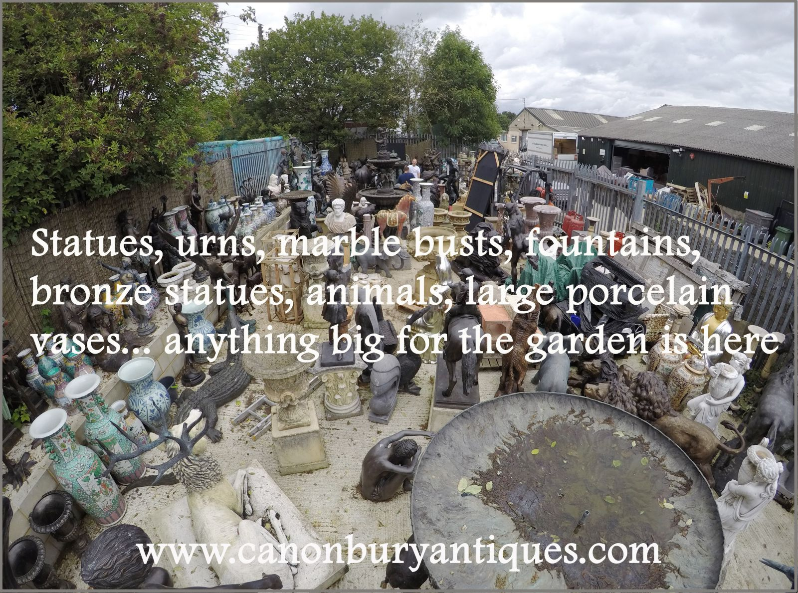 Large architectural pieces outside - fountains, statues, bronze statues and animals, marble carvings...