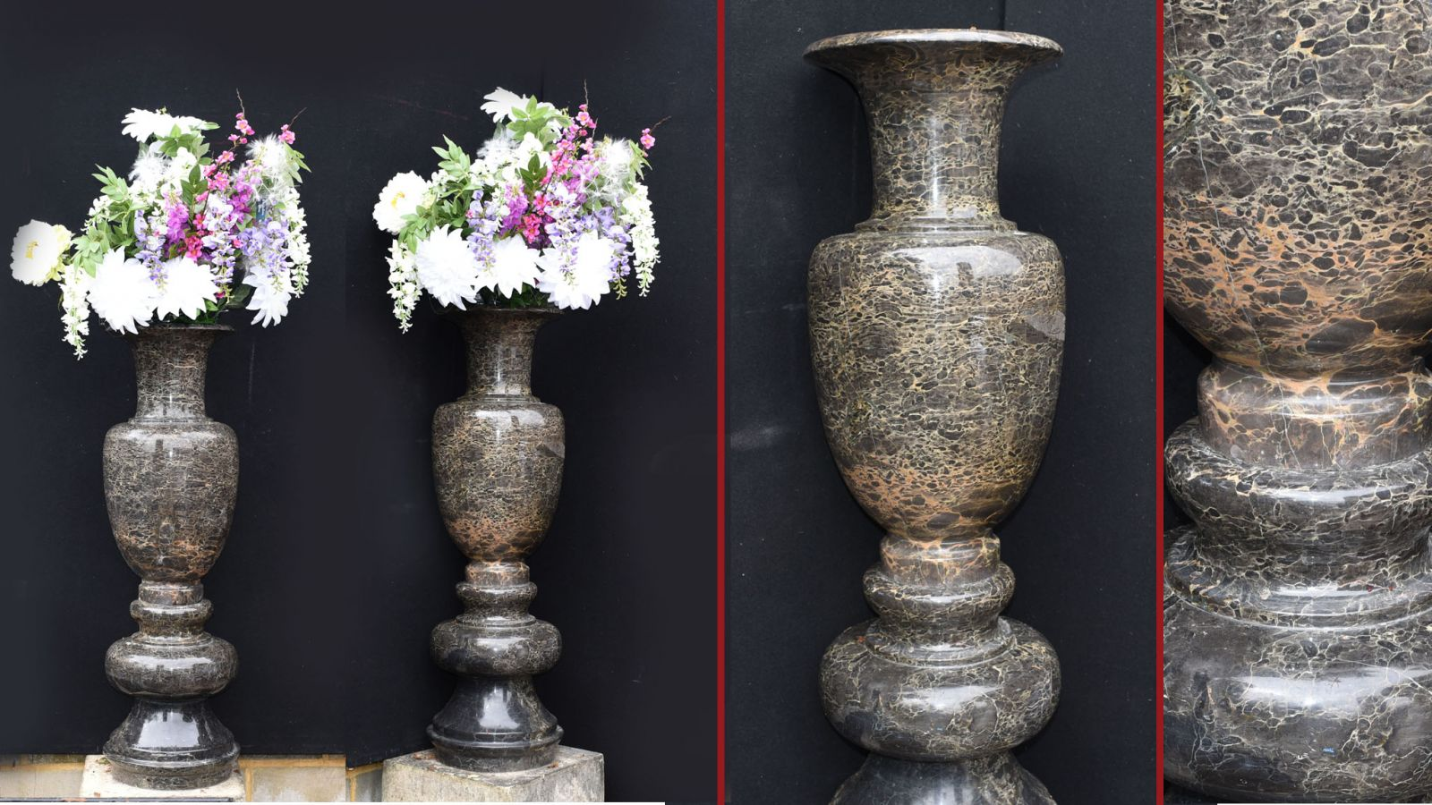 Pair Tall Italian Marble Garden Vases Classical Amphora Urn