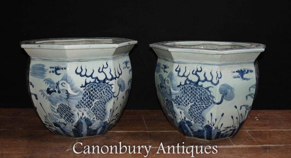Pair Chinese Blue and White Porcelain Planters Pots Dragon