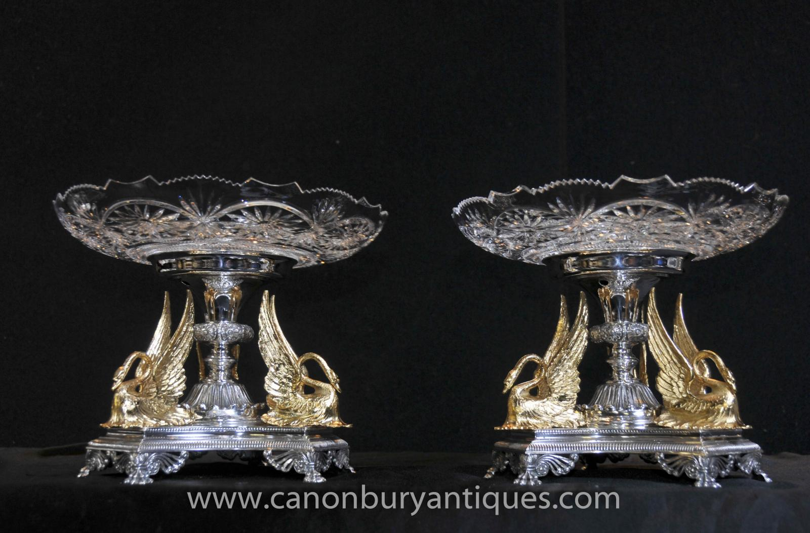 Victorian silver plate centrepiece with gilt swans
