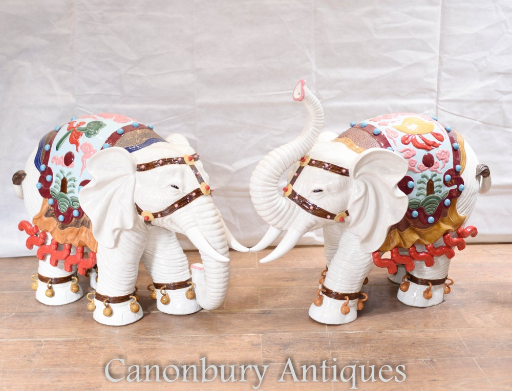 Pair Chinese porcelain elephants