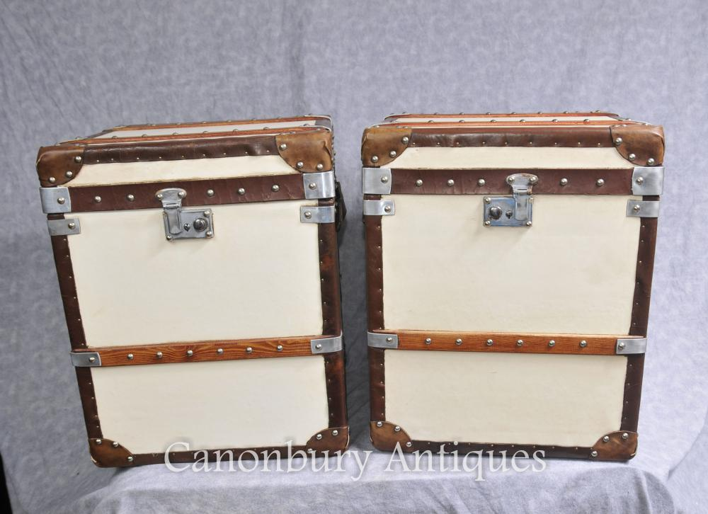 Pair Steamer Trunk English Leather Luggage Boxes