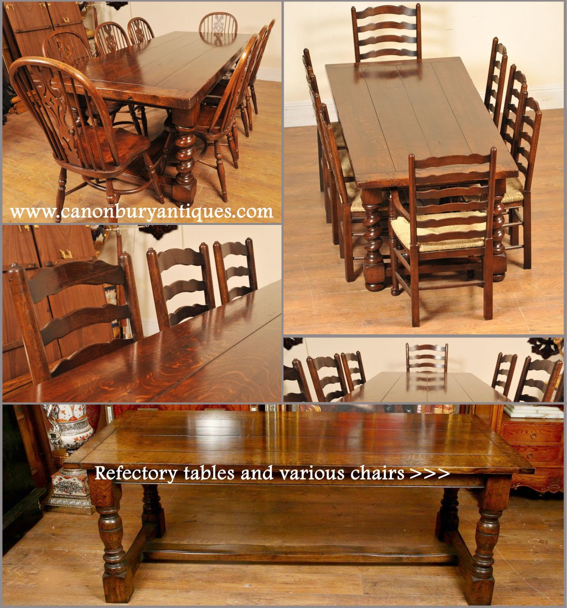 Oak refectory table dining sets
