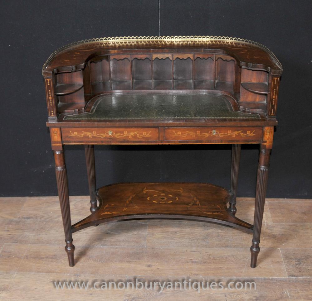 Regency Carlton House Desk Mahogany Marquetry