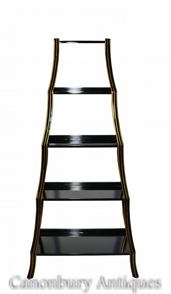 Regency Black Lacquer Etagere Bookcase