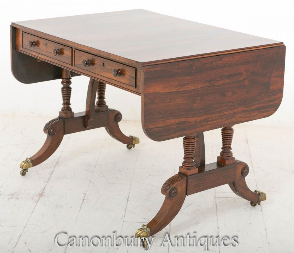 Rosewood Regency Sofa Table - Antique Extending Drop Leaf