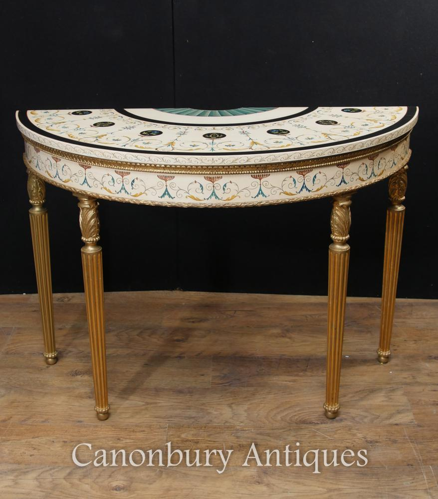 Gorgeous painted demi lune console table in the Adams manner