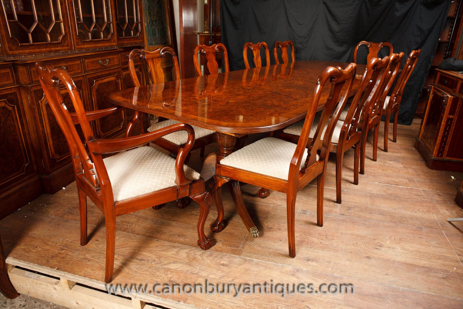 Walnut Regency dining set with Chippendale chairs