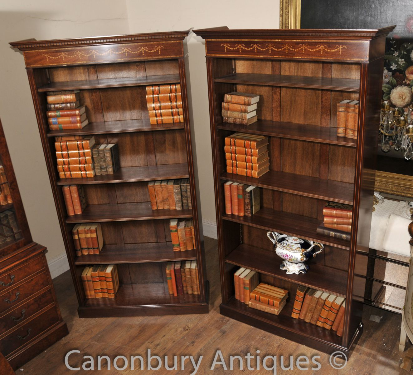 Pair Sheraton Open front bookcases