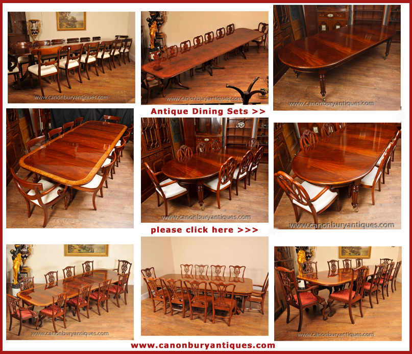 Lots of dining sets in the Canonbury Antiques Hertfordshire showroom