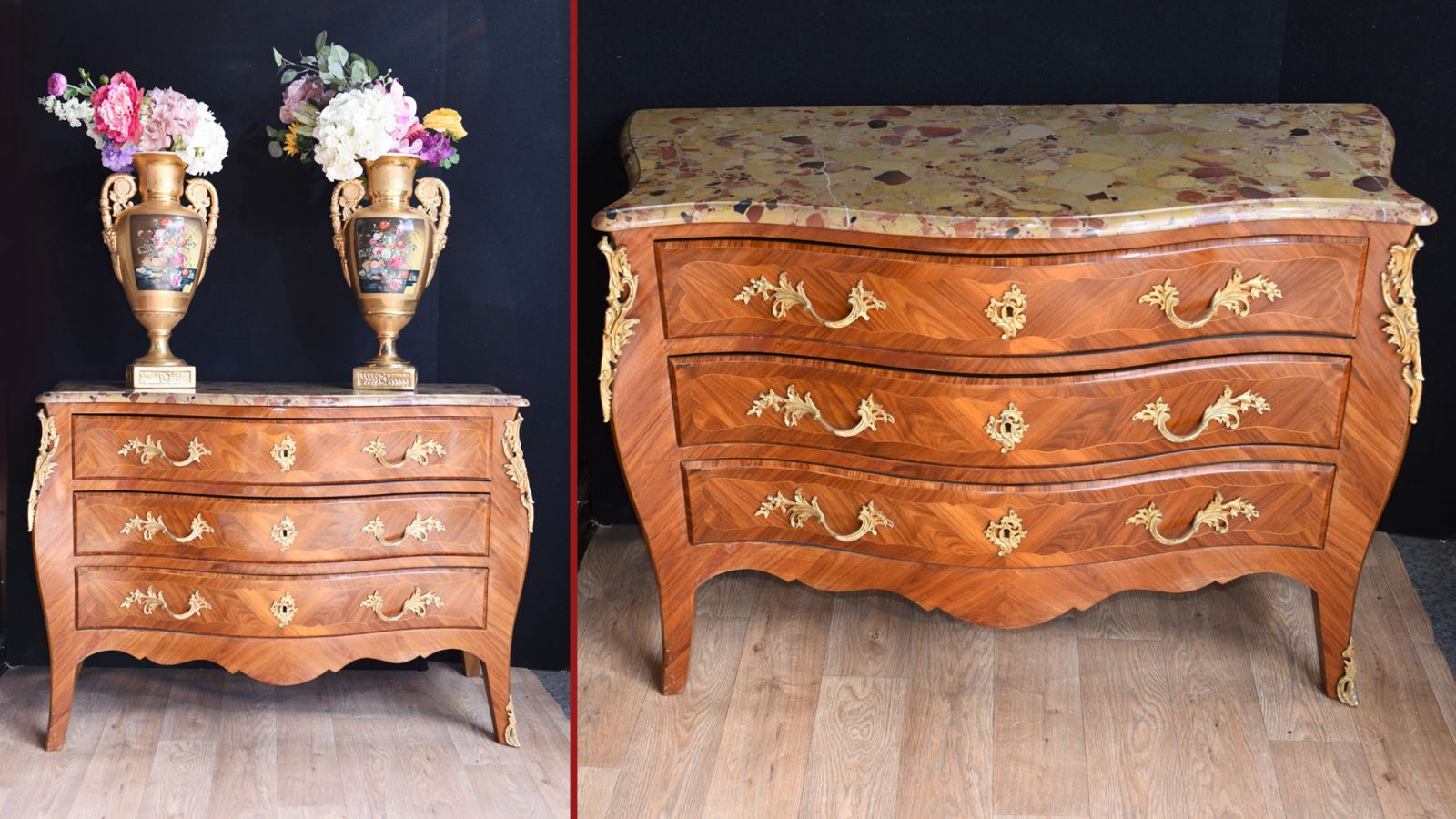 French Chest of Drawers - Antique Kingwood Bombe Commode