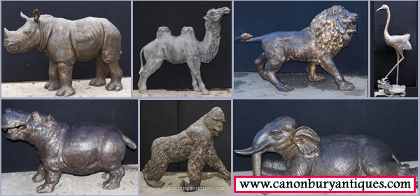 Come and visit the bronze zoo at the Canonbury Antiques Hertfordshire architectural salvage section