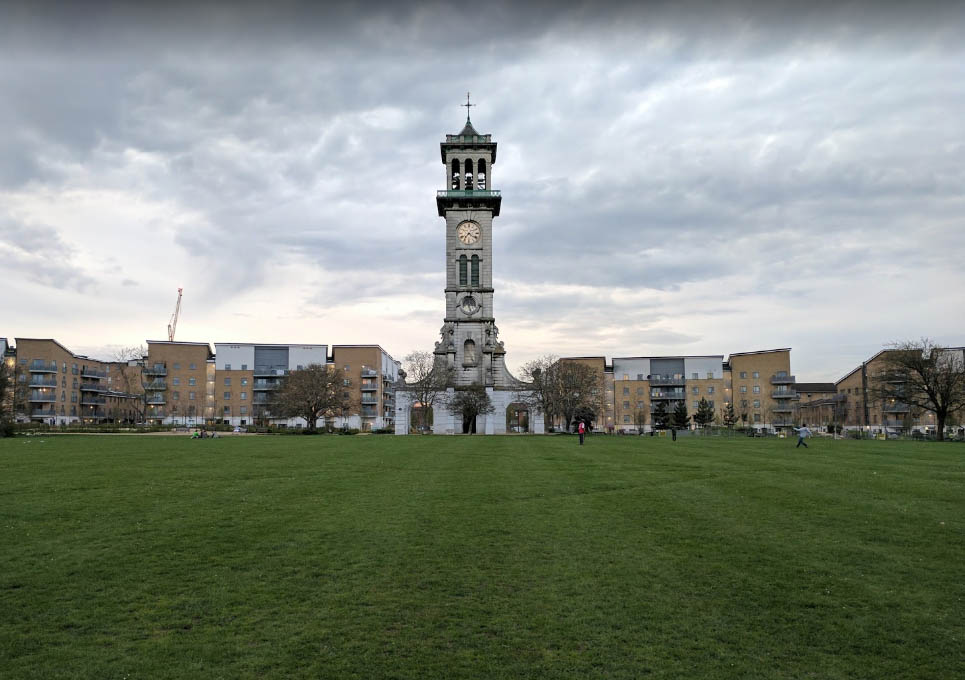 The clock tower still stands - now in Caledonian Park