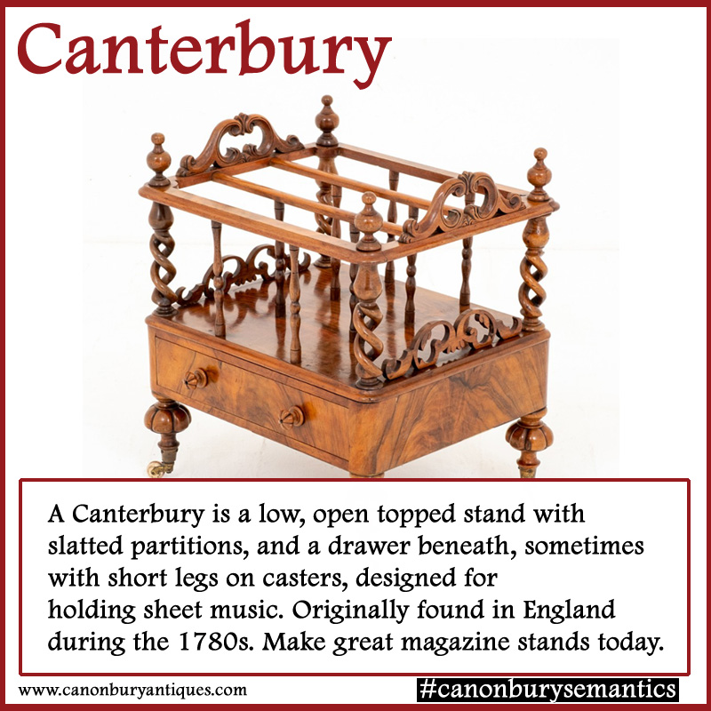 Wonderful antique Canterbury in walnut