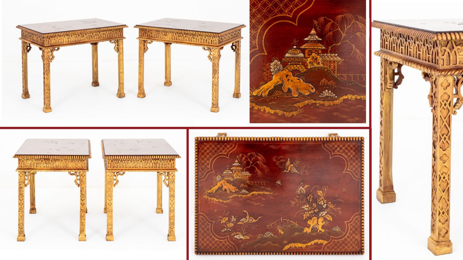 Chinese Chippendale Console Tables