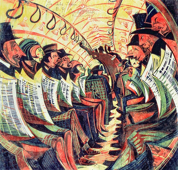 Cyril Powers  Tube Train  - my favourite piece of Tube art, perfectly captures the essence of a crowded carriage