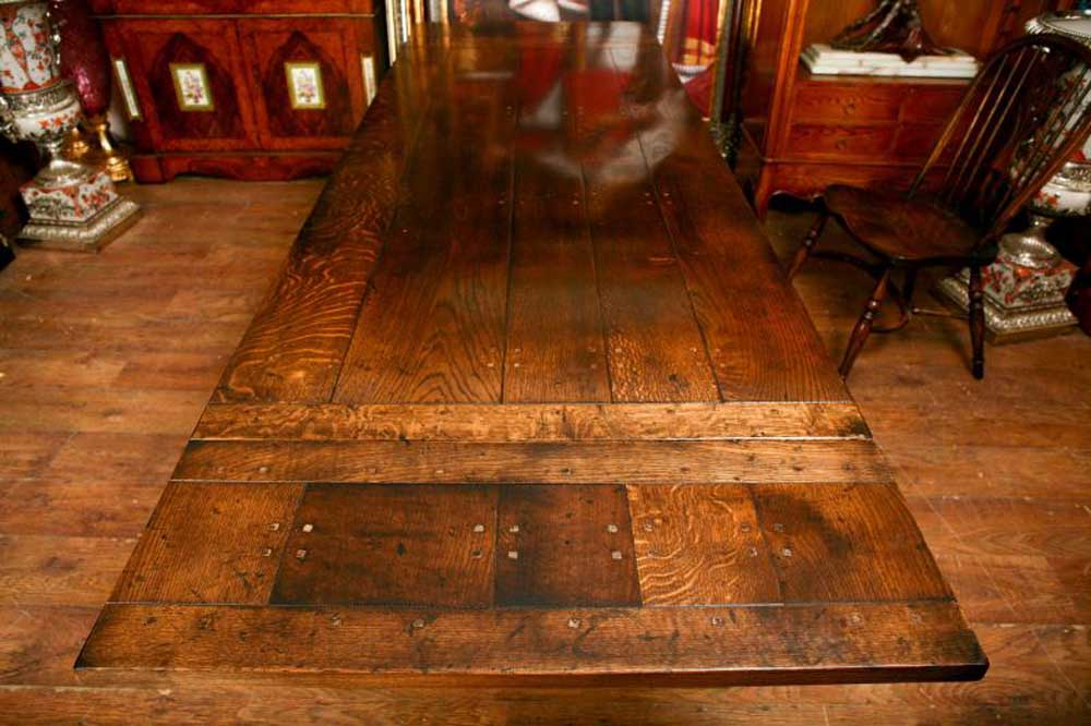 You can see the extra leaf at the end on this refectory table