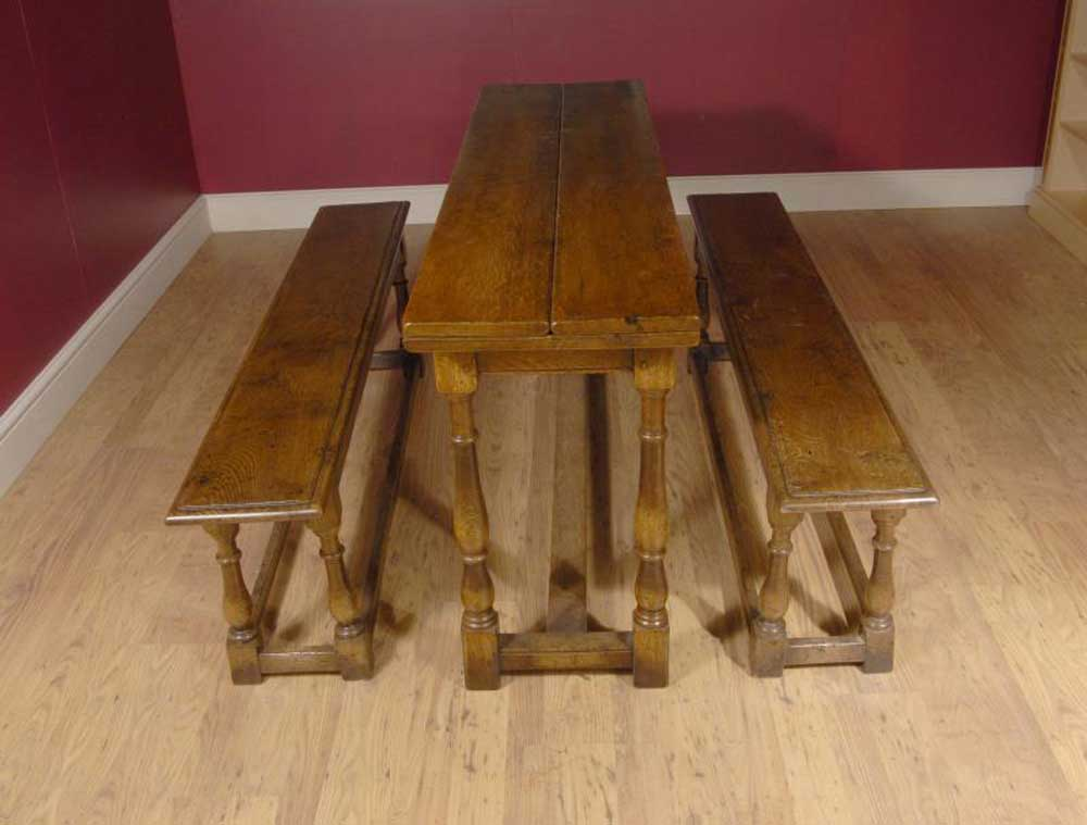 Gorgeous extending Spanish table with two benches in oak to match