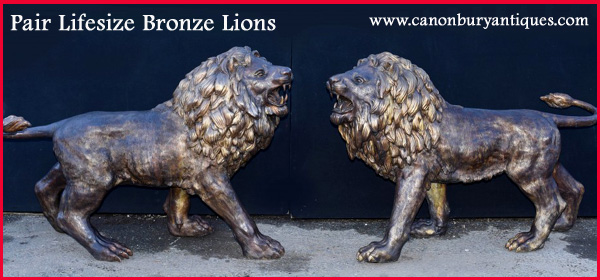 Massive range of bronze lions cats panthers and cheetahs
