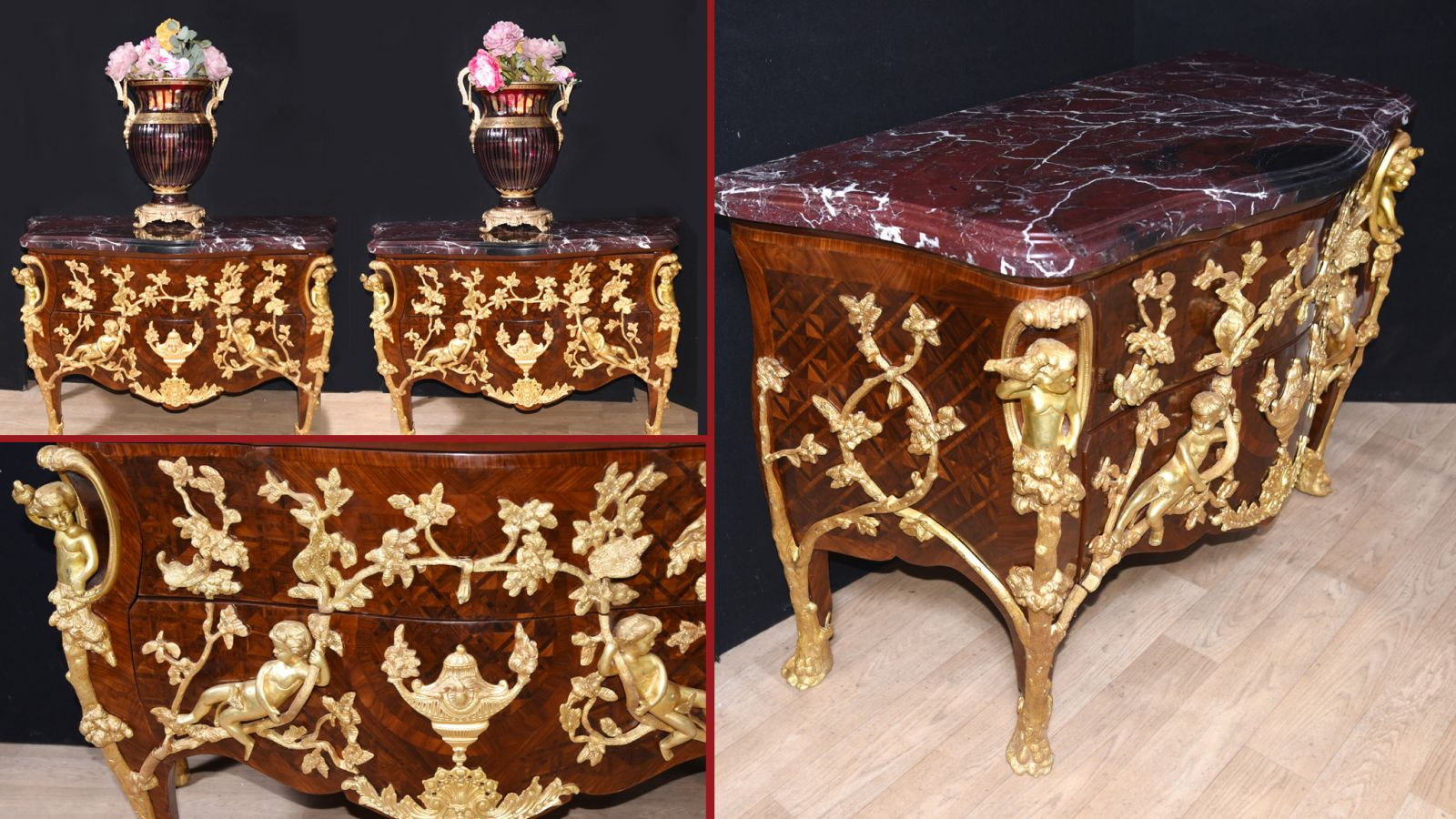 Pair Empire Commodes - Ormolu Cherub Linke Chest Drawers