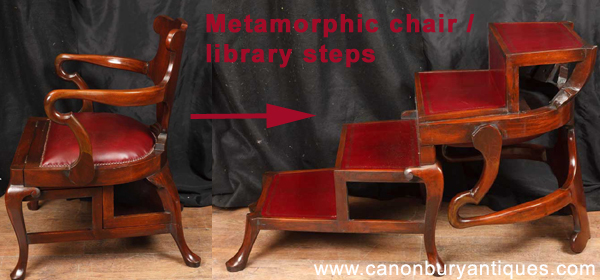 Metamorphic chair - arm chair that converts into a set of library steps