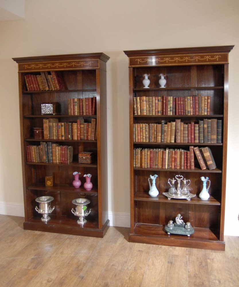 Tall Pair Of Regency Open Front Bookcases Also In Mahogany