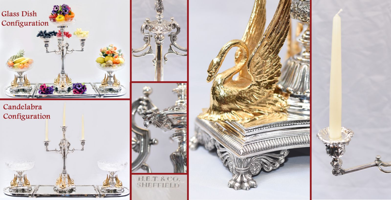 Sheffield silver plate epergne converts from candelabra to glass dish