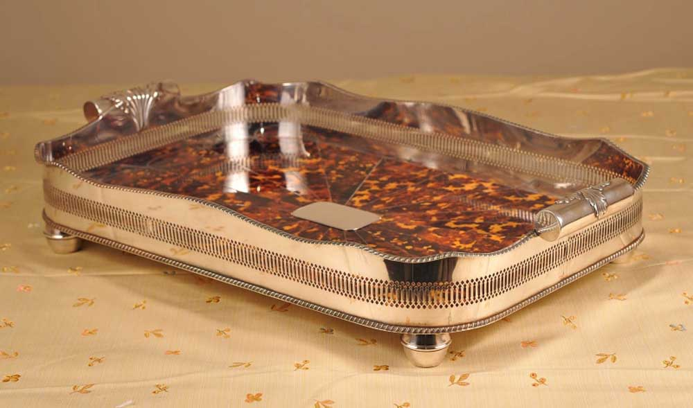 Tortoiseshell Silver Plate Serving Tray Platter Victorian