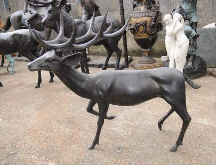 Pair Bronze Stags - XL Architectural Deer Animals Garden Art