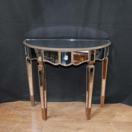Mirrored Console Table Art Deco Demi Lune Tables