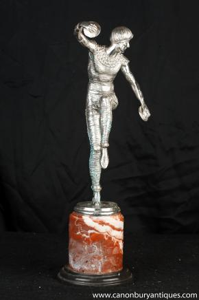 Art Deco Silver Bronze Russian Dancer Bronze Signed Chiparus