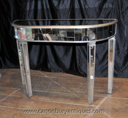 Mirrored side table art deco cocktail table mirror furniture - Deco mobili store ...