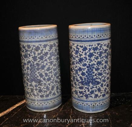 Pair Chinese Blue White Porcelain Urns - Umbrella Stands Tall Vases Ming