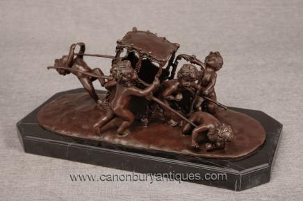 Bronze Cherub Carriage Statue - French  Putti Cherubim