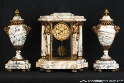 Antique Mantel Clock - French Marble Garniture Clocks with Urns
