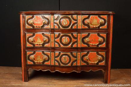 Red Lacquer Chest Drawers- Chinese  Commode Antique Chinoiserie