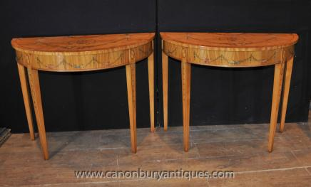 Pair Hepplewhite Console Tables - Demi Lune  Painted Satinwood