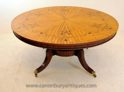 Regency Centre Dining Table in Satinwood Marquetry Inlay Tables