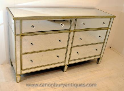 Mirrored Chest Drawers - Art Deco Double Commode Furniture