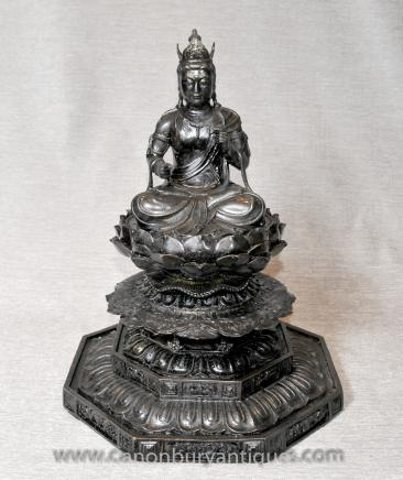 Bronze Burmese Buddha Statue Lotus Throne Buddhist Art Buddhism